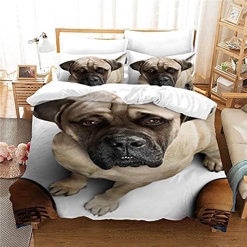 Perro 1 Funda Nordica 150x200cm + 2 Fundas de Almohada 48x74cm,Bulldog Mascotas Animales Ropa de Cama Infantil de Microfibr, Juego de Ropa de Cama Cierre con Cremallera
