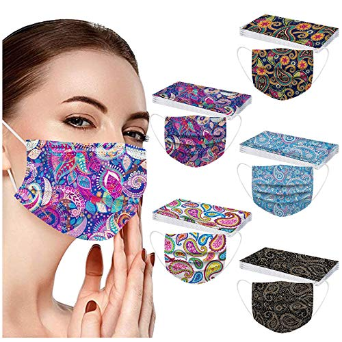 POTTOA 50pcs Paisley Floral Disposable Face_mask. with Designs for Women Girls Adults Colored Paper_Face_mask for Coronɑvịrus Protection Breathable 3 Layers with Nose Wire for Outdoor (Multicolor #3)