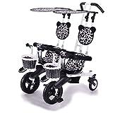 Xiix Cochecito de bebé Cochecito Doble Triciclo Bicicleta de bebé Doble Bicicleta Cinco Modos Gratis con 3 Puntos Protección de Seguridad Carro de bebé sillas de Paseo (Color : A)
