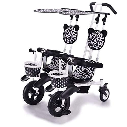 Jixi Cochecito Doble Triciclo Bicicleta de bebé Doble Bicicleta Cinco Modos Gratis con 3 Puntos Protección de Seguridad Carro de bebé (Color : A)