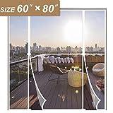 White Magnetic Screen Door Fits Door Size 60 x 80, Double Door Insect Fly Mesh for Sliding Door Fit Doors Size Up to 60'W x 80'H Max