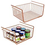 mDesign Household Metal Under Shelf Hanging Storage Bin Basket with Open Front for Organizing Kitchen Cabinets, Cupboards, Pantries, Shelves - 2 Pack - Copper