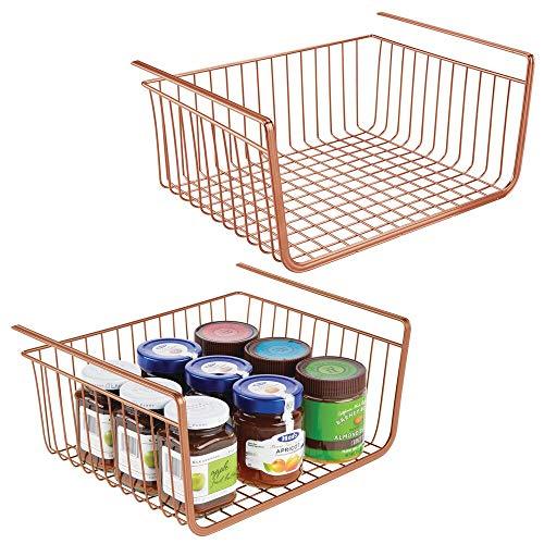 mDesign Juego de 2 cestas metálicas Grandes para Cocina y despensa – Cesta Colgante de Metal Resistente a la corrosión – Robustos estantes de Cocina para Alimentos y Utensilios – cobrizo