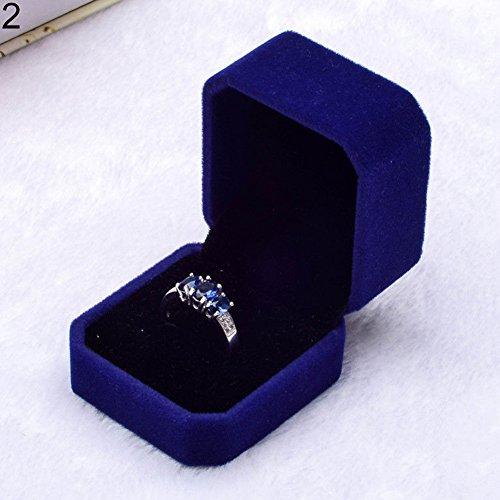 FOReverweihuajz zacht imitatie fluwelen sieradenetui verloving bruiloft oorbel hanger ketting Display doos geschenkdoos Blauw