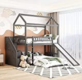 DXW-Y Low Cabin Twin Bunk Beds for Kids, Twin Over Twin Toddler House Bunk Bed with Slide and Ladder, Wooden House Bunk Bed Frame with Stairs and Storage Drawers for Girls Boys, Grey