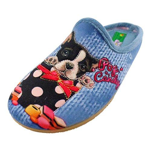 ALBEROLA Hausschuh/Pantoffel HELLE Sohle Hund LIEBT SÜSSES - POP Candy - A16703A - EU 36-42 (41)