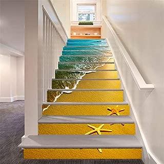 FLFK 13PCS/Set 3D Ocean Beach Self-Adhesive Stair Risers Stickers Vinyl Starfish Staircase Stickers Wallpaper Home Decor 39.3Inch x7.08Inch