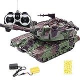 ELVVT 01:32 RC Simulation T90 Crawler Battle Tank Télécommande Peut Lancer des balles en Plastique BB Hors Route Escalade Camion Jouets Anniversaire Cadeau de Noël
