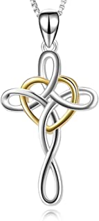 Cross Necklace 925 Sterling Silver Celtic Knot Cross Infinity Heart Love Pendant Necklace 18