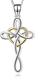 "YFN Cross Necklace 925 Sterling Silver Celtic Knot Cross Infinity Heart Love Pendant Necklace 18"""