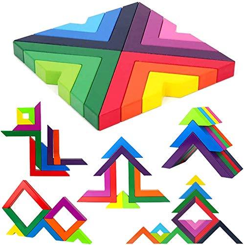 Juego de Apilamiento de Madera de Arcoíris para Niños, Bloques de Construcción de Geometría de Madera, Juguetes Educativos de Anidación para Niños Pequeños por Poweka