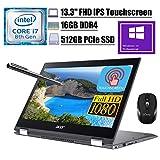 2020 Premium Acer Spin 5 13 2 in 1 Laptop 13.3'FHD IPS Touchscreen 8th Gen Intel Quad-Core i7-8565U up to 4.60 GHz 16GB DDR4 512GB PCIe SSD WiFi Webcam Stylus Pen Win 10 Pro + iCarp Wireless Mouse