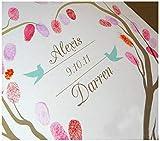 ZGYQGOO Fingerabdruck Unterschrift Gemälde signiert europäischen Hochzeitsbaum, 60x75cm