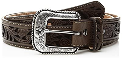 Ariat Men's Scroll Cut Out Brown Inlay Western Belt, Brown, 36