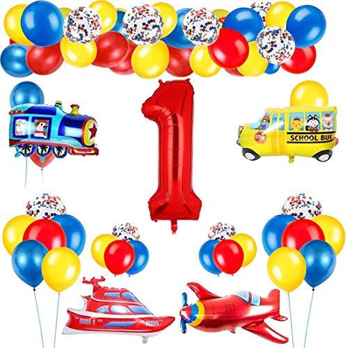 1 Año Decoración de Cumpleaños Número Rojo 1 (40 Pulgadas) Tema de Tráfico Decoración de Fiesta de Cumpleaños Globos de Confeti Látex para Niños Avión Tren Autobús Yate