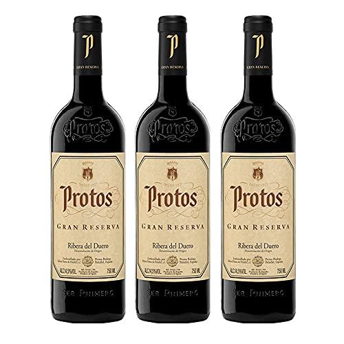 Vino Tinto Protos Gran Reserva de 75 cl - D.O. Ribera del Duero - Bodegas Protos (Pack de 3 botellas)