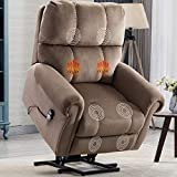 CANMOV Power Lift Recliner Chair with Heat & Massage for Elderly, Heavy Duty Reclining Chair with Contemporary Overstuffed Arms and Back, Light Brown