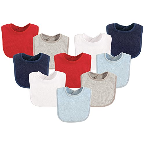 Luvable Friends Unisex Baby Cotton Terry Bibs, Boy Solid, One Size