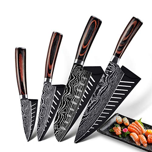 PPLAS Cuchillos Cocina 10 Piezas Damasco Kitchen Knives Set Pattern Professional Chef Knives 5CR15MOV Herramientas de Accesorios de Acero Inoxidable Profesional (Color : 4 PCS Value Set H)