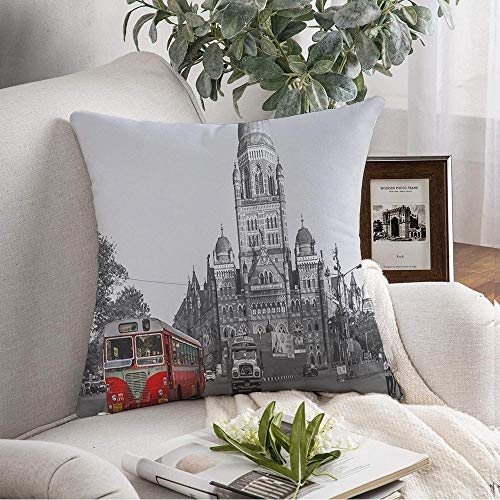 Pillow Cover Blue Transport Mumbai India January 29 BMC Red City Architectural Architecture Asia Best Bus Place Square Cushion Case Decorative Pillow Covers for Sofa Couch Bed Chair 16x16 Inch