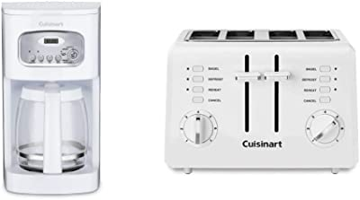 Cuisinart DCC-1100 12-Cup Programmable Coffeemaker, White & CPT-142P1 2-Slice Compact Plastic Toaster, 4, White
