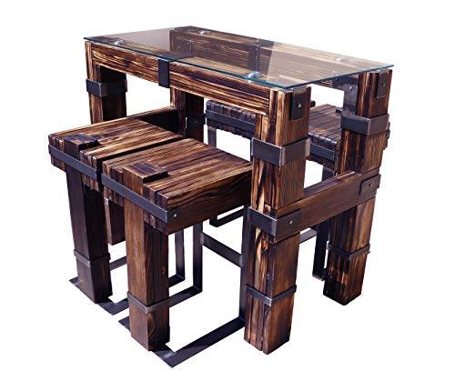 CHYRKA® Esstisch Wohnzimmertisch DROHOBYCZ Hocker Loft Vintage Bar IndustrieDesign Handmade Holz Glas Metall (120x60 cm - Tisch+4Hocker)