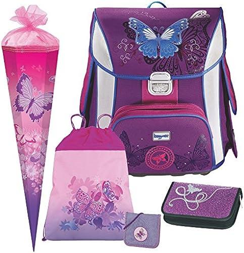 Butterfly - Schmetterling - Leicht-Schulranzen Set Baggymax SIMY Hama 5tlg. mit BRUSTBEUTEL und SCHULTüTE