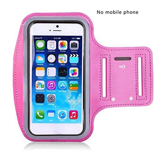 Brazalete Deportivo de Tela Absorbente de Sudor para Estuche para iPhone Soporte para Bandas de Brazo para teléfono móvil Bolsa para teléfono en la Mano - Rosa Rojo