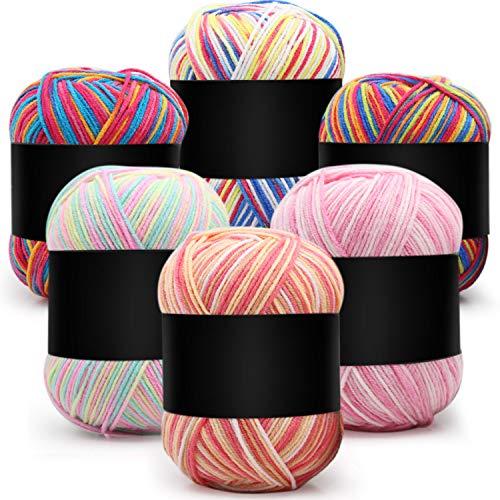 6 Piezas Hilos de Ganchillo de 50 g Hilo de Tejer de Algodón Multicolor Hilo de Tejer a Mano Hilo...