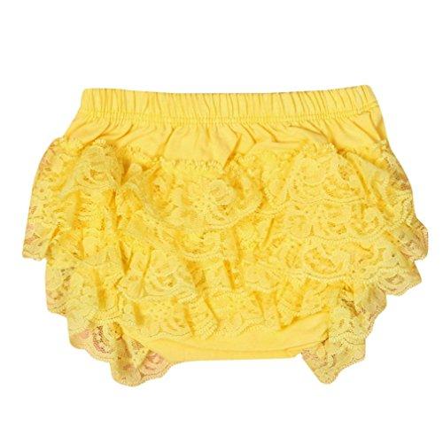 XXYsm XXYsm Baby Mädchen Schichten Spitzen Trainerhosen Unterwäsche Höschen Solide Lace Kleid Rüsche Hose Pumphose Windel Decken (Gelb, 0-6 Monate)
