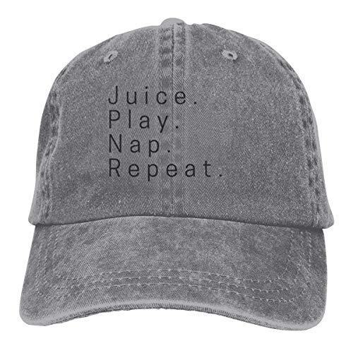 Preisvergleich Produktbild Presock Juice. Play. Nap. Repeat. Cowboy Caps Unisex Adjustable Trucker Baseball Hats Gray