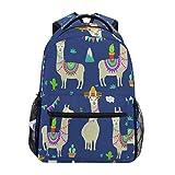 QMIN - Mochila de alpaca indio con diseño de cactus para la escuela, viajes, universidad, portátil, con cremallera, para senderismo, camping, para niños, niñas, mujeres, hombres