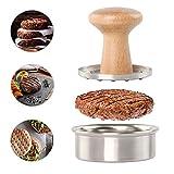 Prensa de hamburguesas antiadherente de acero inoxidable para hacer hamburguesas y hacer hamburguesas con mango de madera para hacer hamburguesas de carne de vacuno, barbacoa, parrilla de barbacoa, herramienta de cocina