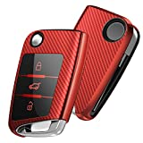 OATSBASF Autoschlüssel Hülle VW,VW Golf 7 Schlüsselbox,Schlüsselhülle Cover für VW Polo Skoda Seat Leon 3-Tasten (Rot-Streifen)