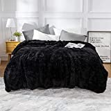 Lvylov Cozy Thick Fluffy Faux Fur Blanket Full/Queen Size 90'' x 90'', Soft Cozy Fuzzy Plush Blanket for Bed/Couch/Sofa, Big Decorative Furry Blankets with Bonus Laundry Bag, Machine Washable, Black