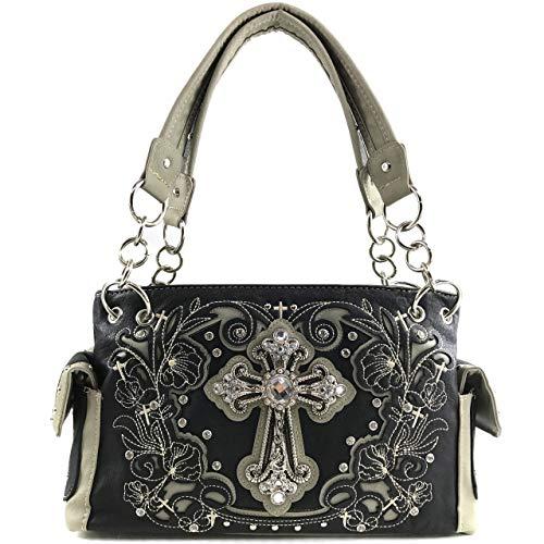 Zelris Western Floral Blossom Cross Women Conceal Carry Shoulder Handbag (Black)