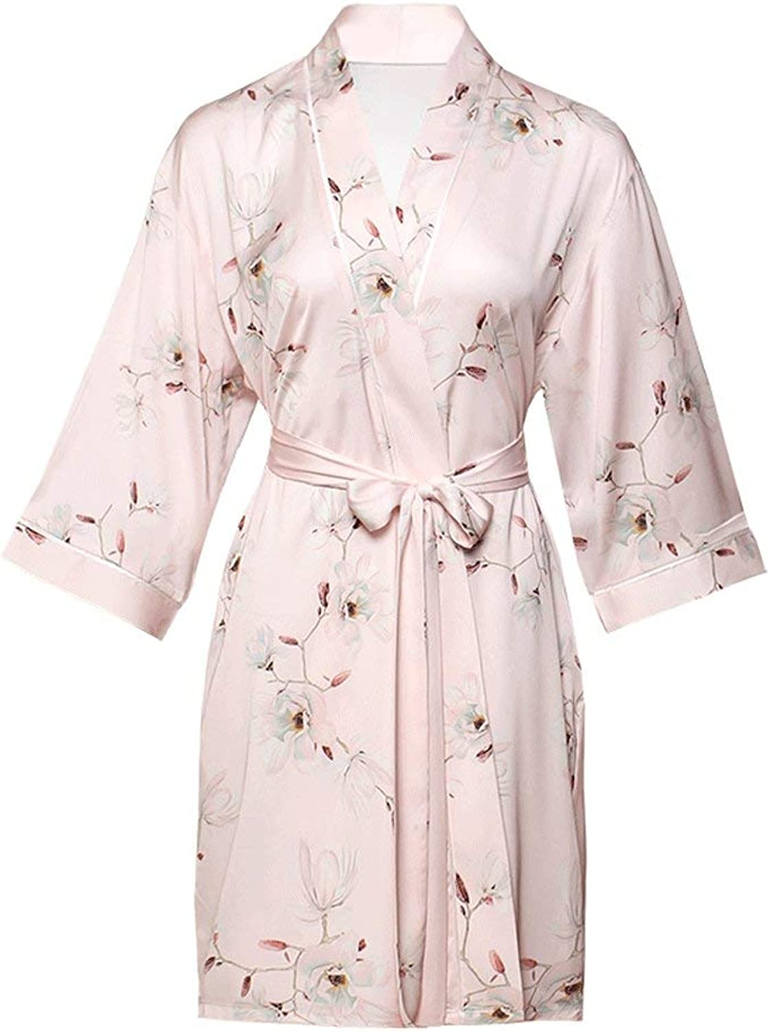 Short Sexy Satin Robes,Luxurious Silk Dressing Gown Lightweigh Pajamas Soft Nightgown for Party Wedding Bridal,PinkL