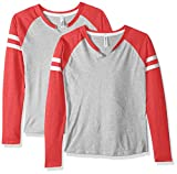 AquaGuard Women's Gameday Mash-Up Long-Sleeve Fine Jersey T-Shirt-2 Pack, VN Heather/VN RED/W, M