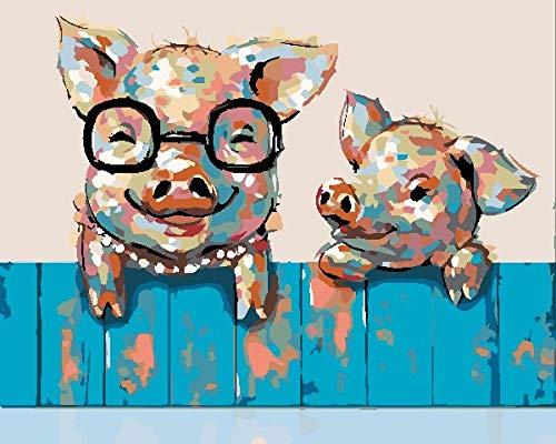 DIY Kit de Cuadrado Diamond pintura con 5D,Cerdo valla azul Taladro Completo Adultos Rhinestone Diamantes de imitación Craft Decoración para el hogar Pared Regalo 40 X 50 cm