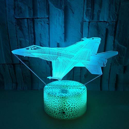 Yujzpl 3D-illusielamp Led-nachtlampje, USB-aangedreven 7 kleuren Knipperende aanraakschakelaar Slaapkamer Decoratie Verlichting voor kinderen Kerstcadeau-Vliegtuigmodel
