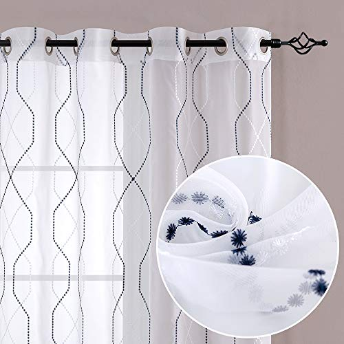 """Curtains Embroidered for Living Room Embroidery Drapes Geometric Light Filtering Window Treatment Patterned Sheer Grommet Top Drapery for Bedroom 84"""" L Grey & Blue on White"""