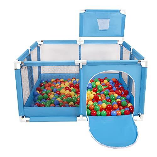 Selonis Parque De Juegos Con Canasta Y 900 Bolas Para Niños, Azul:Amarillo/Verde/Azul/Rojo/Naranja