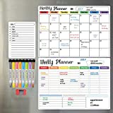 Hivillexun Dry Erase Calendar Whiteboard. Set of 3 Magnetic Calendars for Refrigerator, Monthly, Weekly Organizer & Daily Notepad. Wall & Fridge Family Calendar. 8 Markers 1 Eraser