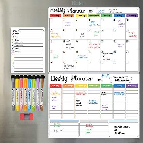 Hivillexun Dry Erase Calendar Whiteboard. Set of 3 Magnetic Calendars for Refrigerator, Monthly, Weekly Organizer & Daily Notepad. Wall & Fridge Family Calendar. 8 Markers 1 Eraser