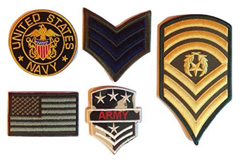 b2see Iron on Bügel USA Miltär Aufnäher Patches Flicken Aufbügler Applikation Set groß zum aufbügeln aufnähen Kleidung Army Navy Seal Sergeant USA 5 Stück (USA 4)