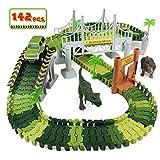 TONZE Circuito Coches Niños Pista de Coche y Dinosaurios Juguetes Flexible 142 Piezas para Niños 3 4 5 6 Años