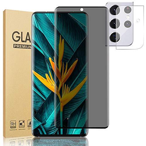 "[1+1] Galaxy S21 Ultra Privacy Screen Protector, 9H Tempered Glass Anti-spy Anti-Glare Anti-Fingerprint Touch Sensitive Bubble Free Full Coverage HD Glass Film for Samsung Galaxy S21 Ultra 5G (6.8"")"