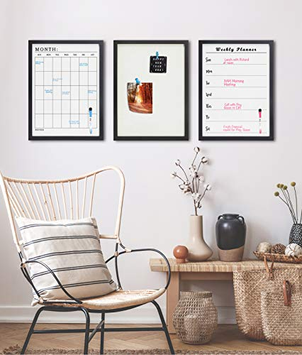 Black Wood Frame Note Board Set of 3 , Wall Mounted Linen Bulletin Cork Board , Magnetic Dry Erase Weekly Planner Board and Monthly Planner Board for Home and Office , 3 Markers and Eraser Included