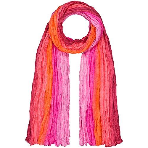 Japanwelt Seidentuch elegantes Damen Halstuch Crash-Schal 100% Seide silkroad 90 x 180 cm Verlauf Pink Orange
