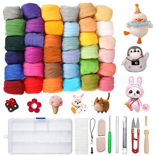 Jeteventy® 36 Farben Filzwolle Basteln Quennslandwolle Schafwolle DIY mit Werkzeug Set (10 Arten = 39er), geeignet für Nassfilzen & Trockenfilzen